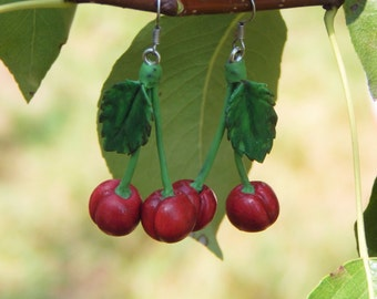 Red Cherry Earrings handmade Cherry jewelry Polymer clay jewelry Polymer clay cherry earrings