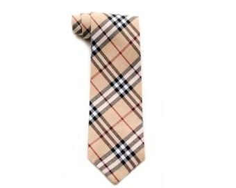 Leyden - Beige Cream Black Plaid Boy Necktie - Pretied or Traditional