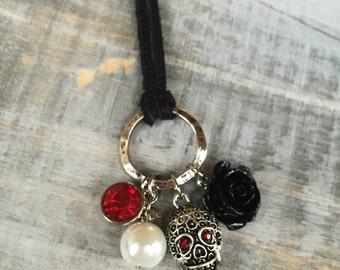Sugar Skull Necklace // Black Rose Necklace // Day of the Dead Necklace // Dia de los Muertos Necklace // Skull Jewelry // Skull Necklace