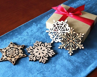 Snowflake Coaster -Laser Cut Wood Coasters - Set of 4 - Personalized Gift, Holiday Gift Box - Snowflake Ornament- Timber Green Woods -B007
