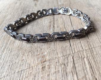 Vintage Sterling Silver Dark Garnet and Marcasite Bracelet