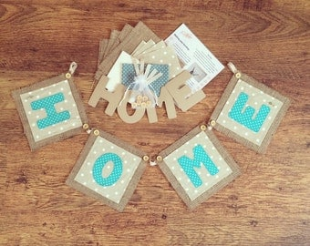 HOME burlap bunting kit, bunting kit, burlap bunting kit, make your own bunting kit, rustic bunting, applique bunting kit, make your own kit
