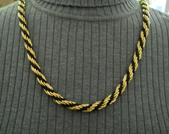 Vintage Gold And Black Necklace By L R #181