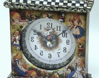 Alice in Wonderland. Alice in Wonderland Clock. Unique Clock. Fairy Tale Clock. Alice Clock. Alice in Wonderland Decor. Alice Carriage Clock