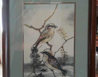 Vintage signed painting - Ink and watercolor - 1/2 of a beautiful pair