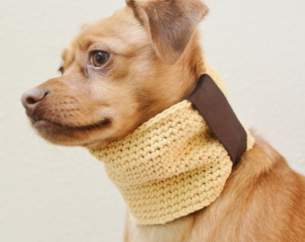 Cotton and Upcycled Leather Crochet Dog Cowl yellow brown pet accessory