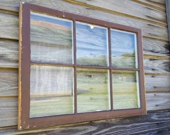 Vintage Antique Window Sash ~ 32x27 farm house wedding portrait collage unique shabby