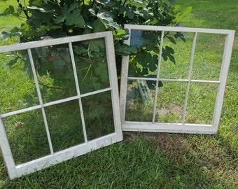 32 x 32 Six 6 pane vintage wood farm house antique window sash wedding set