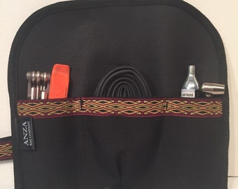 ABCSF Road Bike Tool roll- Black with Red and Gold Trim