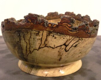 Spalted Hickory Natural Edge Wood Bowl
