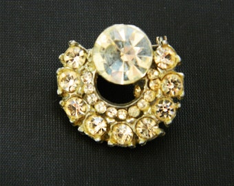 Vintage Pot Metal Rhinestone Brooch Circle Circular Coat Sweater Pin 1""