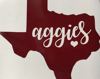 Texas A&M sticker | Texas aggies vinyl | TAMU decal | gig em | aggies| TAMU | College Station | Texas | Sticker | Yeti | Single Layer