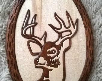 Wooden deer,   Wood carving deer,  Deer Wall,  Wall hanging deer,  Hand made deer