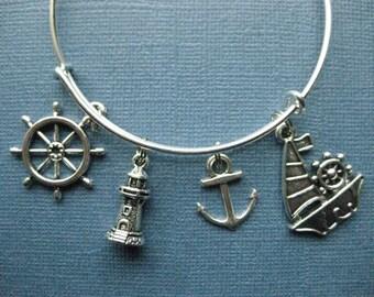 Nautical Bangle - Nautical Charm Bracelet - Nautical Jewelry - Charm Bracelet - Bangle -- B131