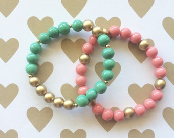 Spring Forward Bracelet Set by Sarahndipity Jewelry || Beaded, Stretch, Stackable, Pink, Gold, Mint