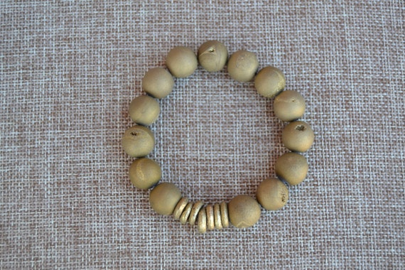 Gold Druzy Stretch Bracelet with African Brass Rings