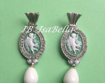 Soutache green cameo earrings