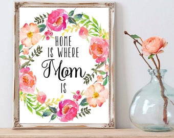 Mother, Mother Print, Mothers Day, Mothers Day Gift, Mother's Day Print, Gift For Mom, Mothers Day Card, Gifts For Mom, Home Is Where Mom Is