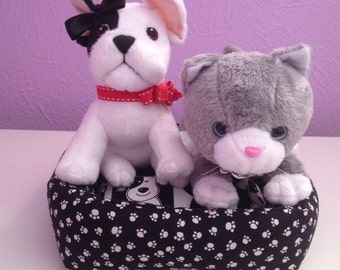 Handmade 2 pc snuggly pet  bed for American Girl doll pets