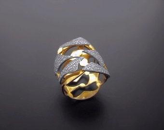 VA008,Diamond Ring,  14k Yellow Gold,  14k White Gold