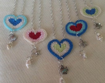 Crocheted Heart Pendant with Charms