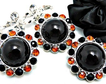 BLACK Pearl Rhinestone Acrylic Buttons W/ Black And Orange Surrounding Rhinestones Brooch Button Bouquet Coat Buttons 26mm 3185 25P 1 40 1R