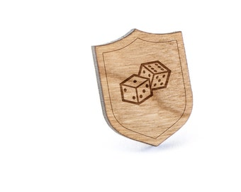 Dice Lapel Pin, Wooden Pin, Wooden Lapel, Gift For Him or Her, Wedding Gifts, Groomsman Gifts, and Personalized