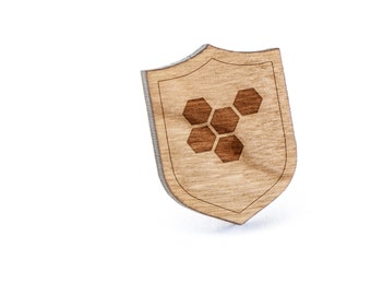 Honeycomb Lapel Pin, Wooden Pin, Wooden Lapel, Gift For Him or Her, Wedding Gifts, Groomsman Gifts, and Personalized