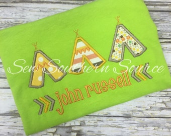 Teepee Applique, Aztec Shirt, Personalized Shirt