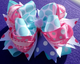 Easter Pink, Purple, and Green Stacked/Layered Boutique Bow