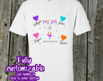Mom tshirt with kids names - Proud Mom