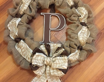 Handmade burlap wreath with initial