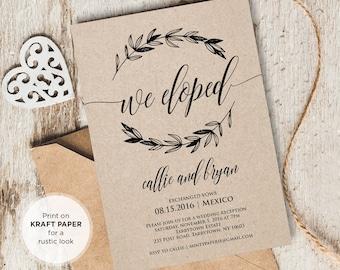 Elopement Announcement, Wedding Elope Invitation Printable, We Eloped, We Eloped, Instant Download, Editable Text, PDF Template, Digital
