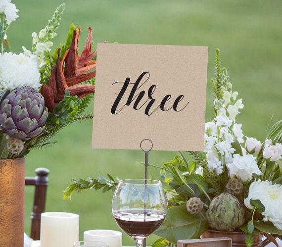 Wedding Table Number Printable, Instant Download, Rustic Kraft Wedding, Tent Fold Seating Table Cards, DIY,  PDF Template, Digital File