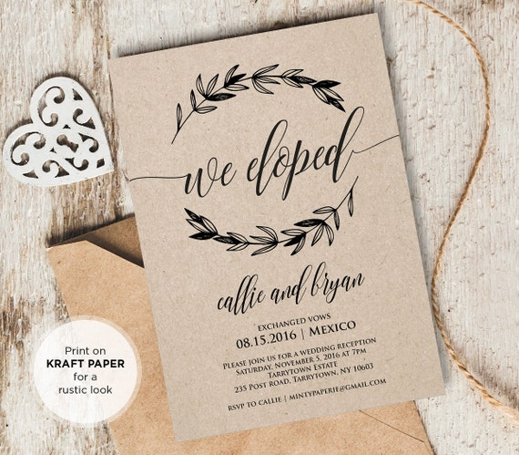 Wedding Gifts For Couples Who Eloped : Elopement Announcement, Wedding Elope Invitation Printable, We Eloped ...