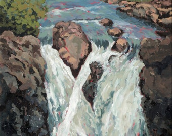 Stock clearance, glencoe falls, Scottish Highlands, Scotland, Glencoe, waterfall, landscape, water, flow, scenery, oil painting, art