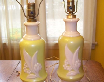 Mid Century 3 Way Aladdin Alacite Green Pink Lily Of the Valley Lamps & nite lights, beautiful Vintage pair, Working