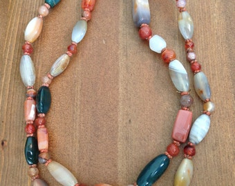 Vintage Multi-Gemstone Knotted Necklace