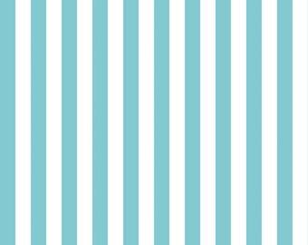 "Riley Blake 1/2"" Narrow Stripes, White and Aqua, fabric by the yard"