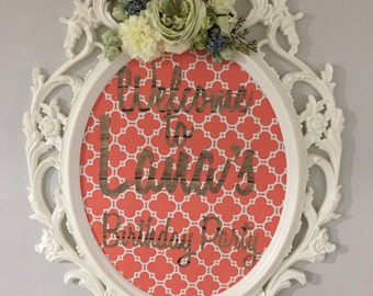 White ornate oval frame, Large Welcome Sign, baroque ornate frame, floral frame, birthday frame, oval nursery frame, babyshower sign