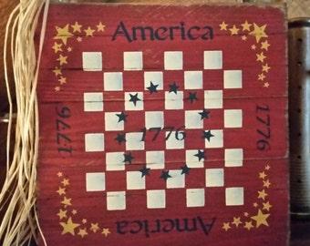 Primitive Americana CheckerBoard Sign