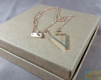 Rose Gold Necklace/V necklace/Triangle/Geometrical/Minimalist/Layering,gift for her