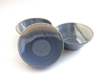 Ceramic bowl for breakfast lunch dinner in blue orange and cream - handmade pottery