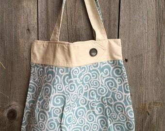 29 - Aqua Swirled Large Tote - Summer, Beach, Work, School, Everyday, Handbag