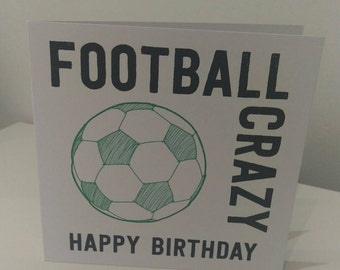Football Crazy Birthday Card // Greeting card // Handmade // Card for children // Card for kids // Football fan