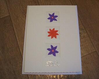 Handmade Birthday card 3 flowers