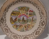 Colorado  souvenir  plate, collector's plate, decoritive plate, denver,  air force academy, pikes peak, cliff dwellings, royal gorge