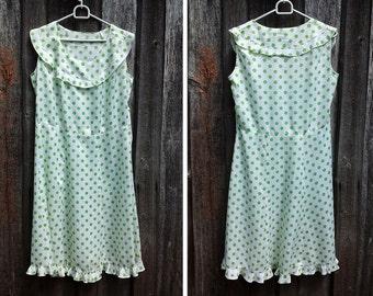 Vintage 1980s dress / Polka dots dress