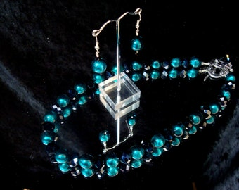 Teal foil lined beads and Black Crystal Beaded Necklace