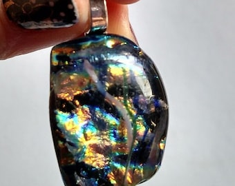 Silver Dichroic Fused Glass Pendant, Yellow, Orange, Breen, Blue, Black, White Necklace